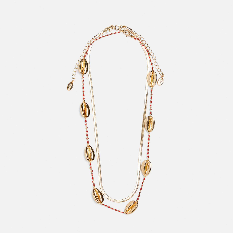 Pack con dos collares de conchas y dorado de Zara