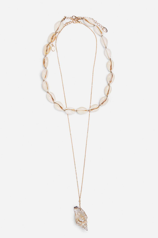Pack con doble collar de conchas marinas en longitudes diferentes de...