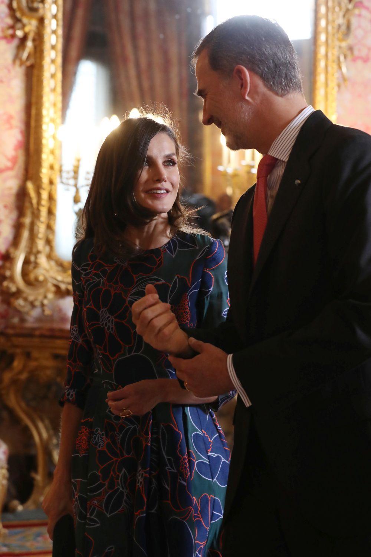 Felipe y Letizia durante el almuerzo ofrecido en el Palacio Real a Ida...