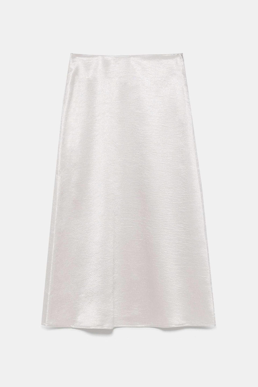 Falda midi satinada con brillos de Zara