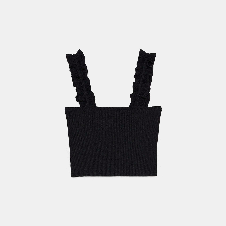 Top de corte cropped de Zara con volantes en los tirantes de Zara