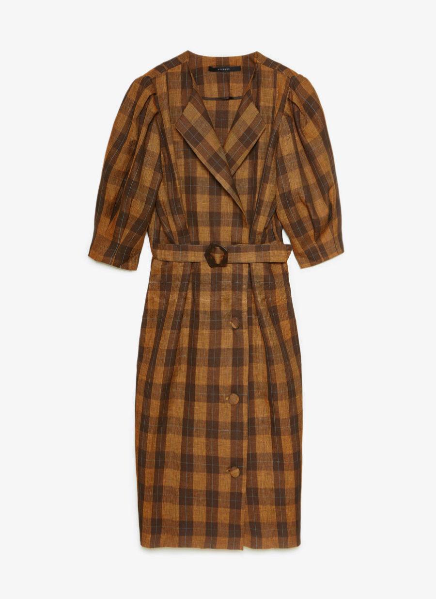 Vestido de mezcla de lino y mangas abullonadas de Uterqüe