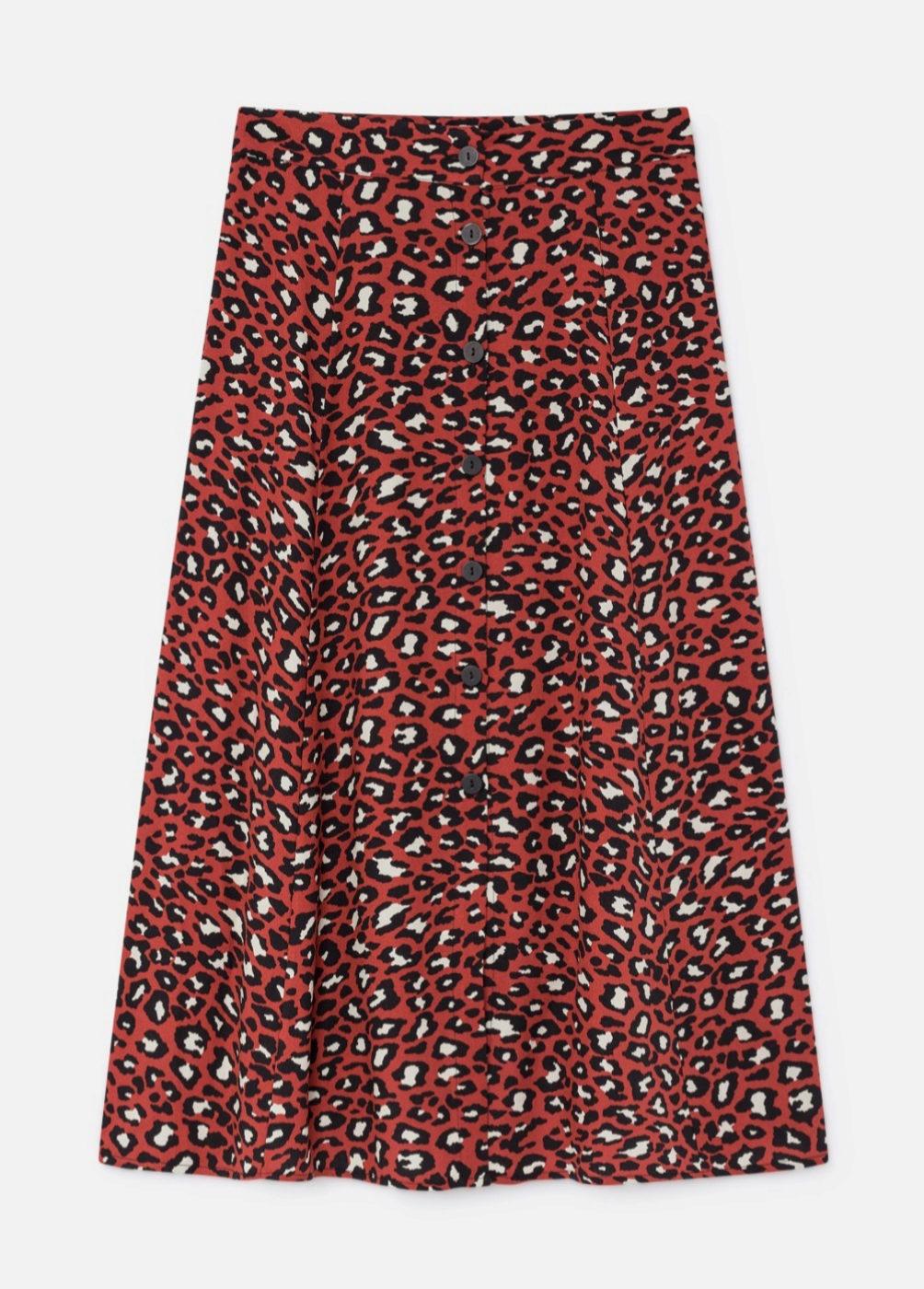 Falda midi con botonadura frontal y estampado de 'animal print' de...