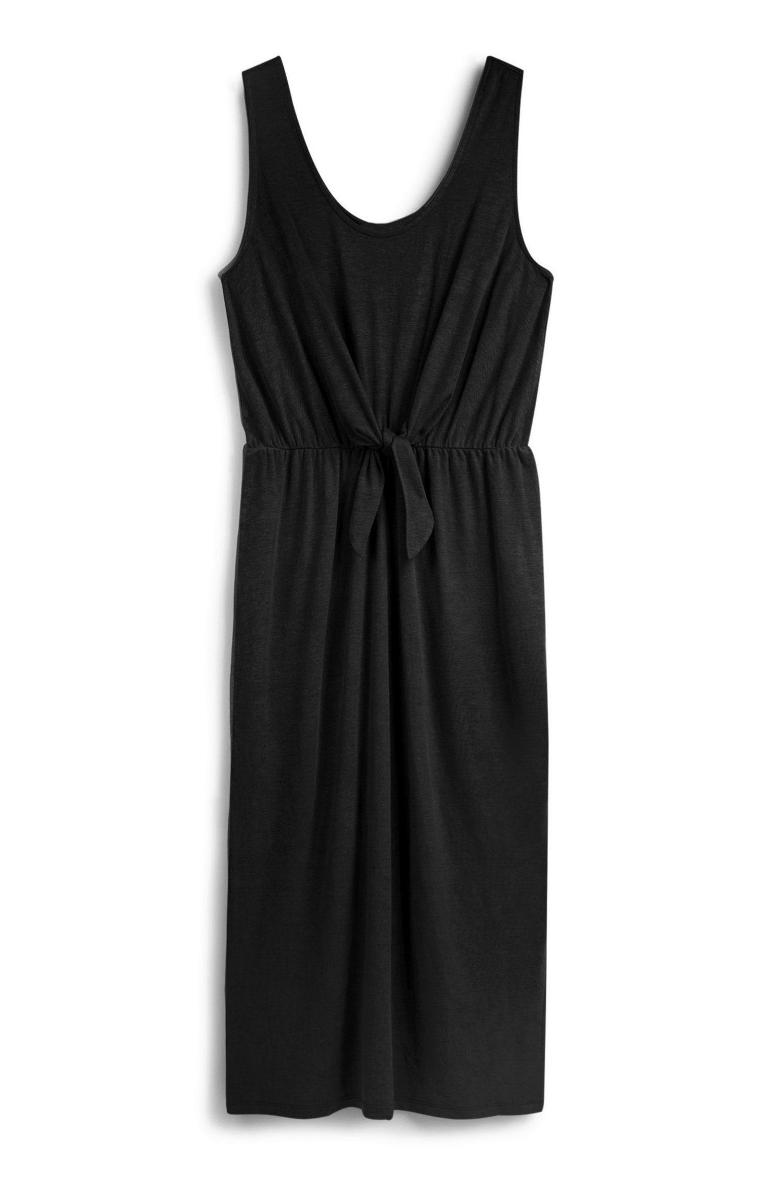 Vestido de algodón en color negro con nudo de Primark
