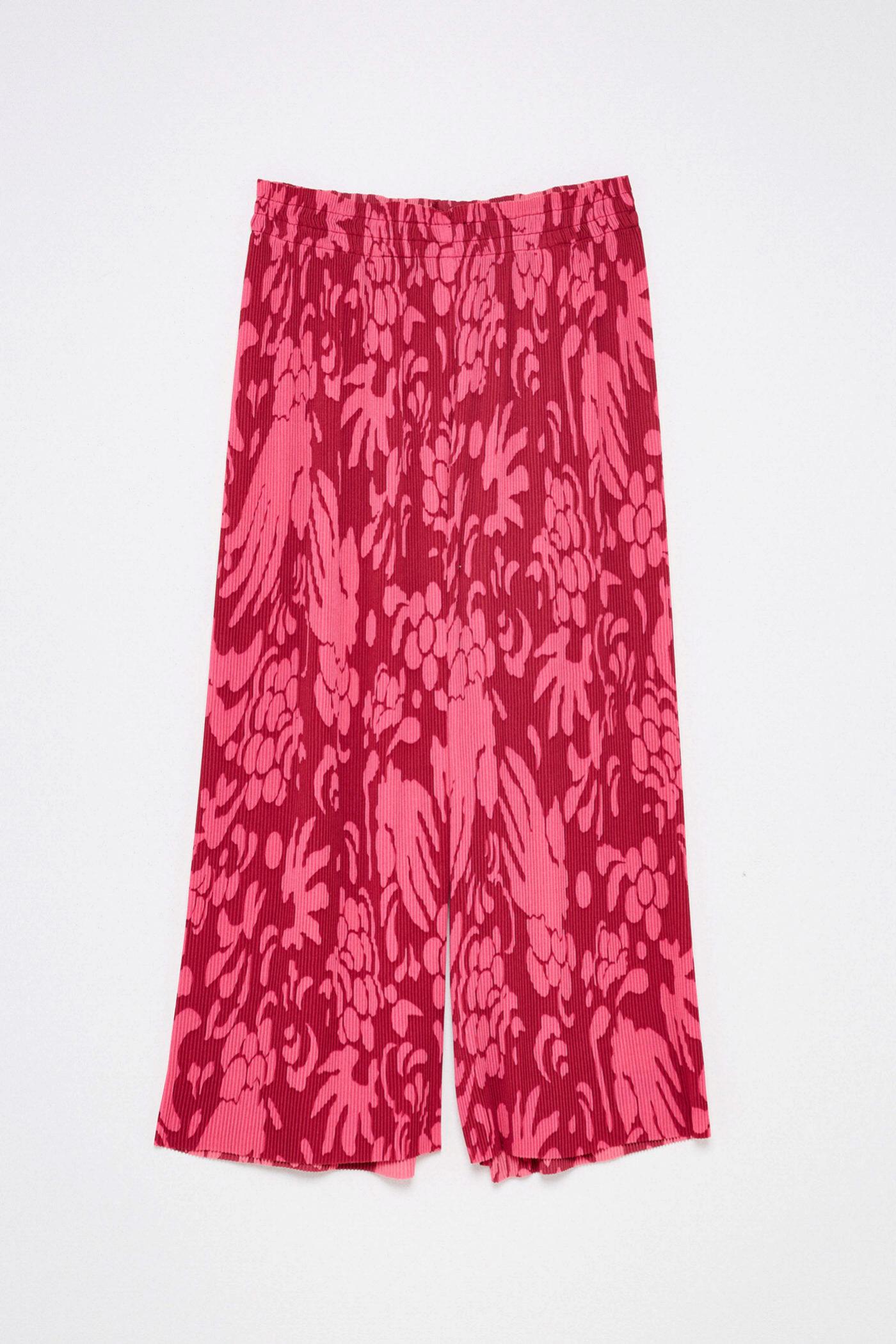 Pantalón plisado estampado en rojo y rosa de Sfera
