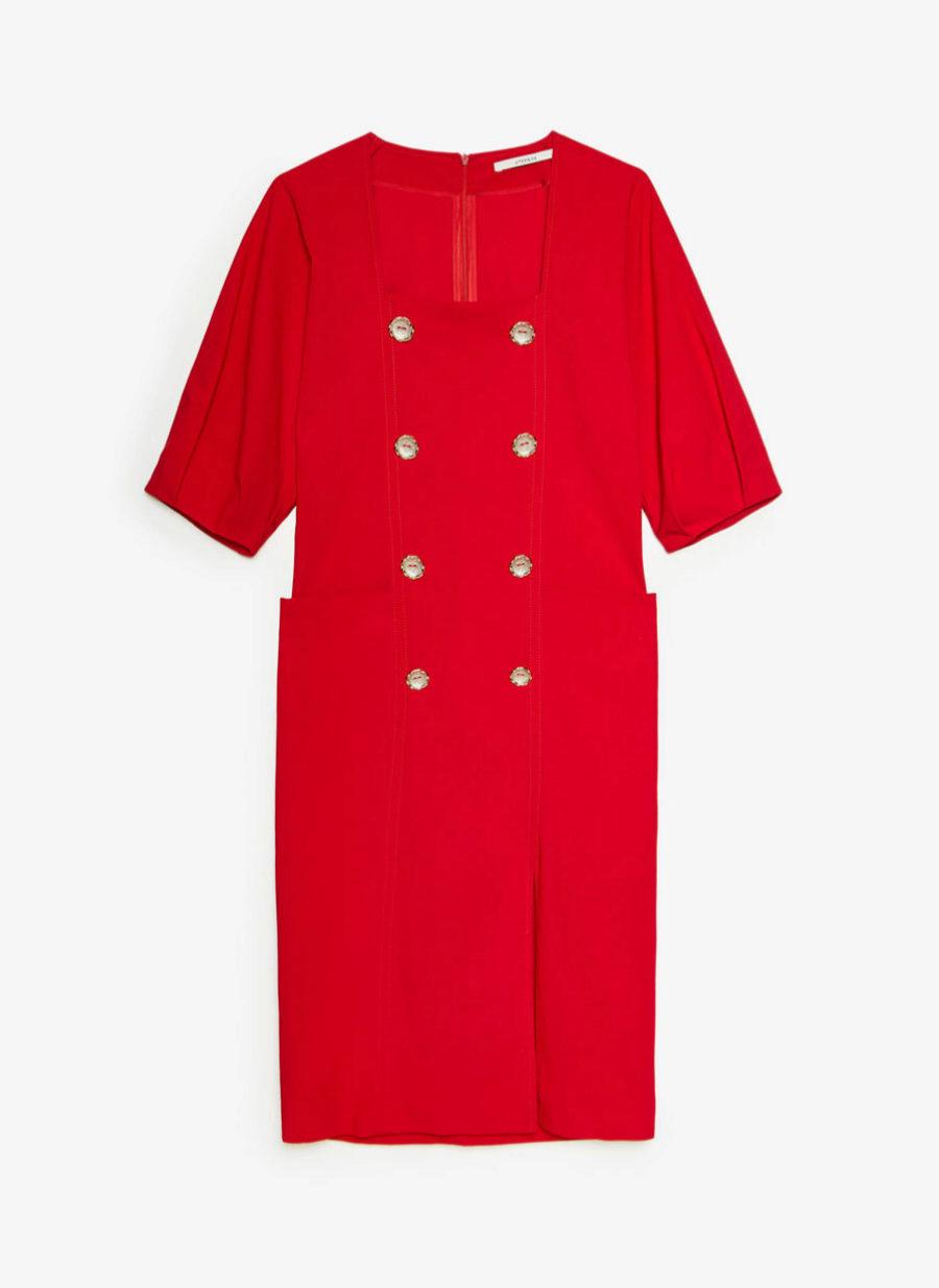 Vestido en corte midi de inspiración vintage de Uterqüe