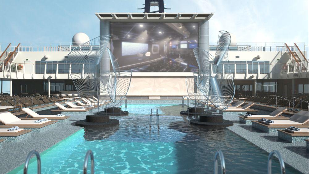 La piscina principal del MSC Bellissima incluye una pantalla de cine...