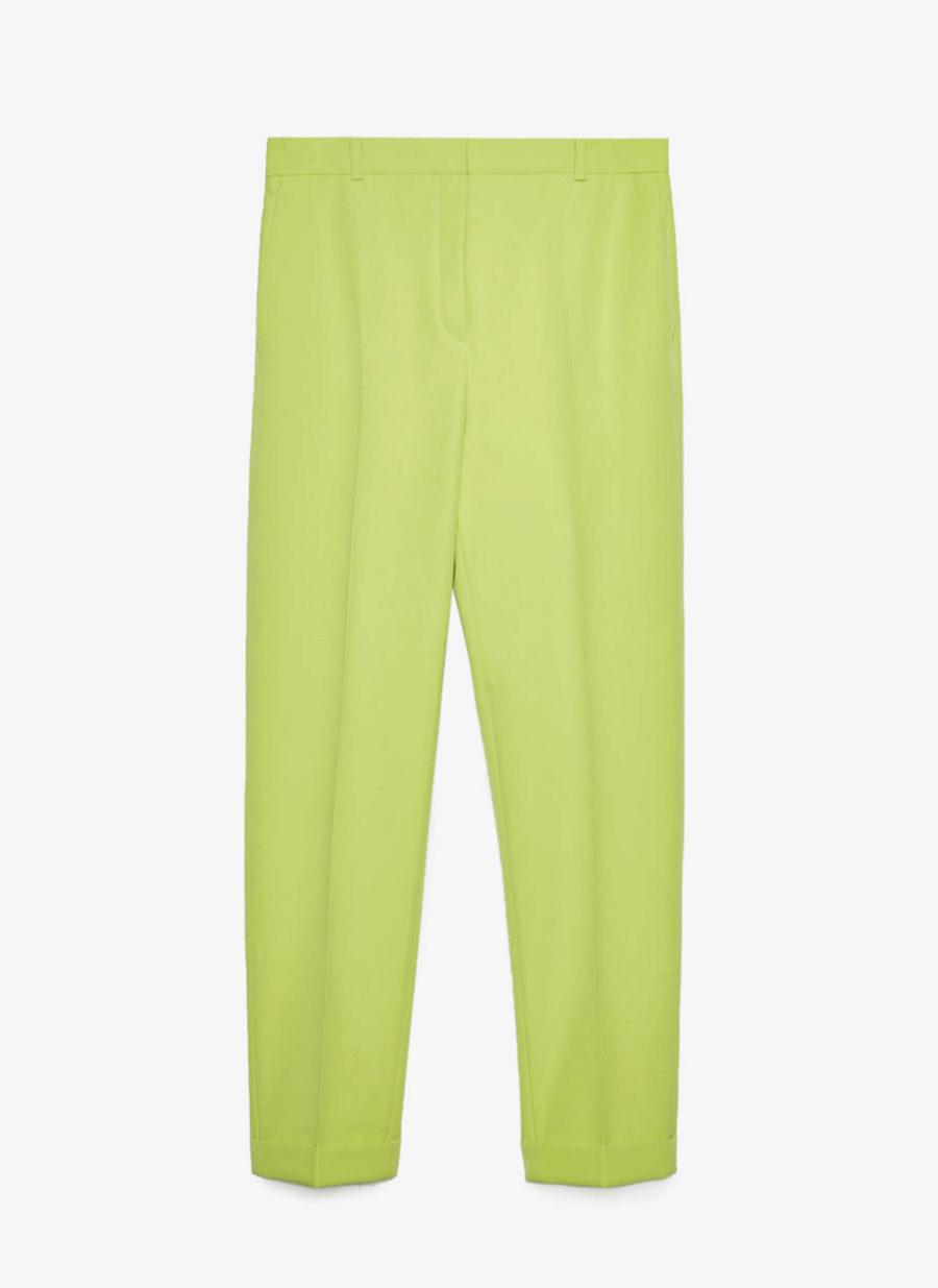 Pantalón verde lima de pinzas de Uterqüe
