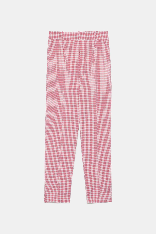 Pantalón con estampado de cuadros de vichy de Zara