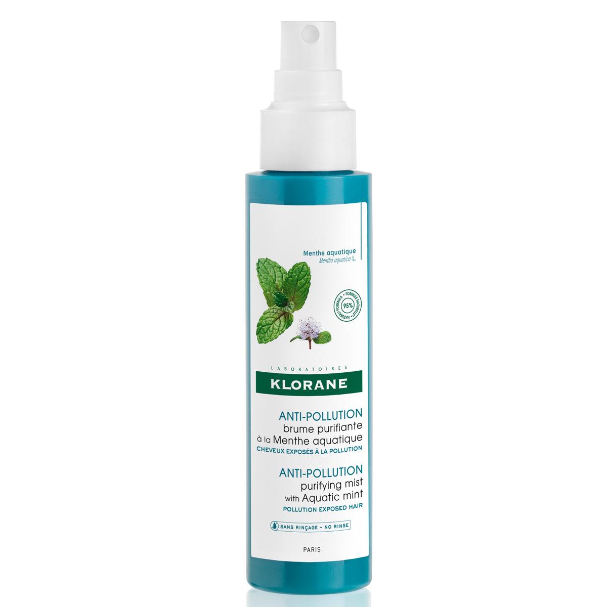 Bruma purificante anticontaminación a la menta acuática de Klorane.