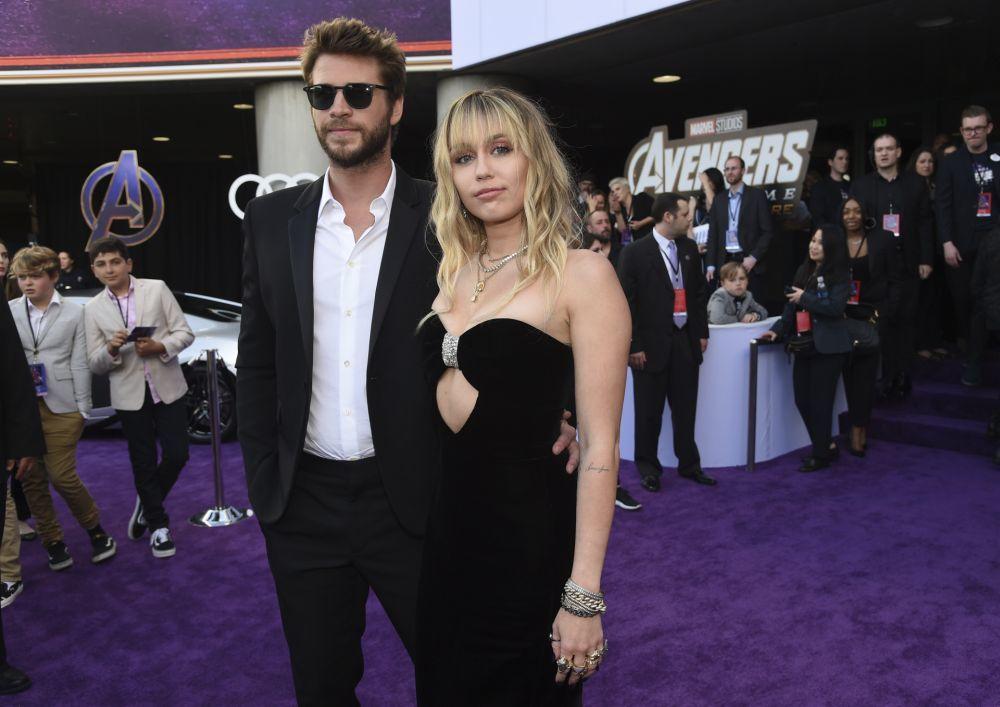 """Liam y Miley Cyrus en el estreno de """"Vengadores: Endgame""""."""