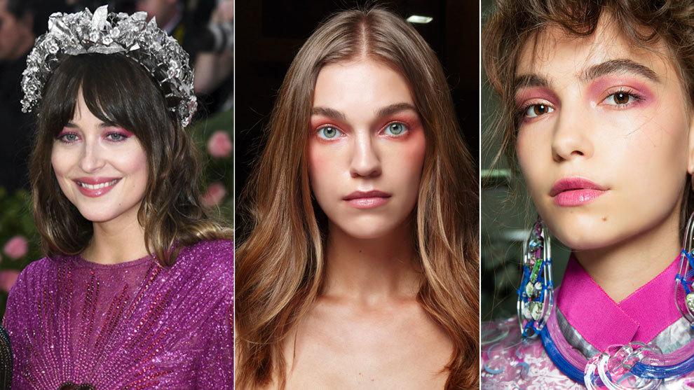 De izda. a dcha.: Dakota Johnson, y las propuestas de maquillaje color...