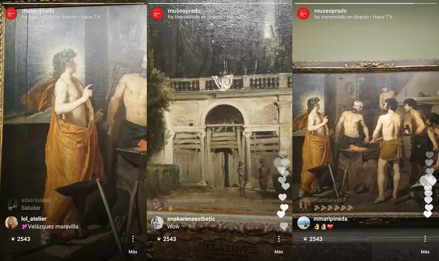 Varias imágenes de los directos que el Museo del Prado realiza cada...
