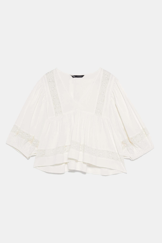 Blusa rústica y romántica de Zara