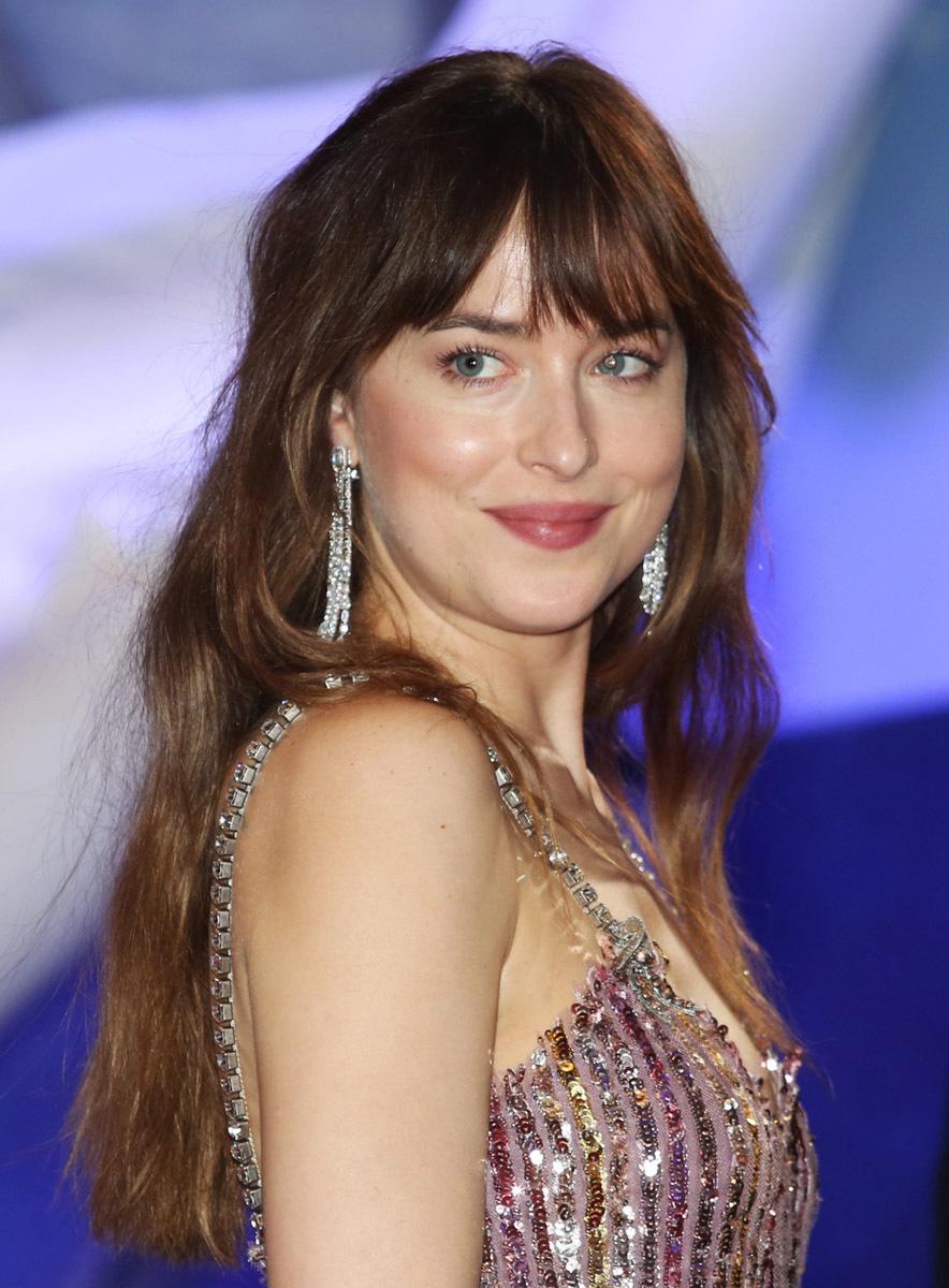 Dakota Johnson con melena extra larga y algunas capas en la parte delantera para suavizar el rostro y aportar movimiento al cabello.