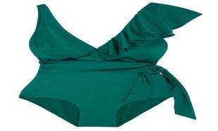 Traje de baño en color verde con volante en el hombro de Oysho