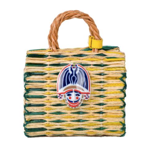 Mini bolso de rafia con detalle en cerámica de Sargadelos de Heimat...