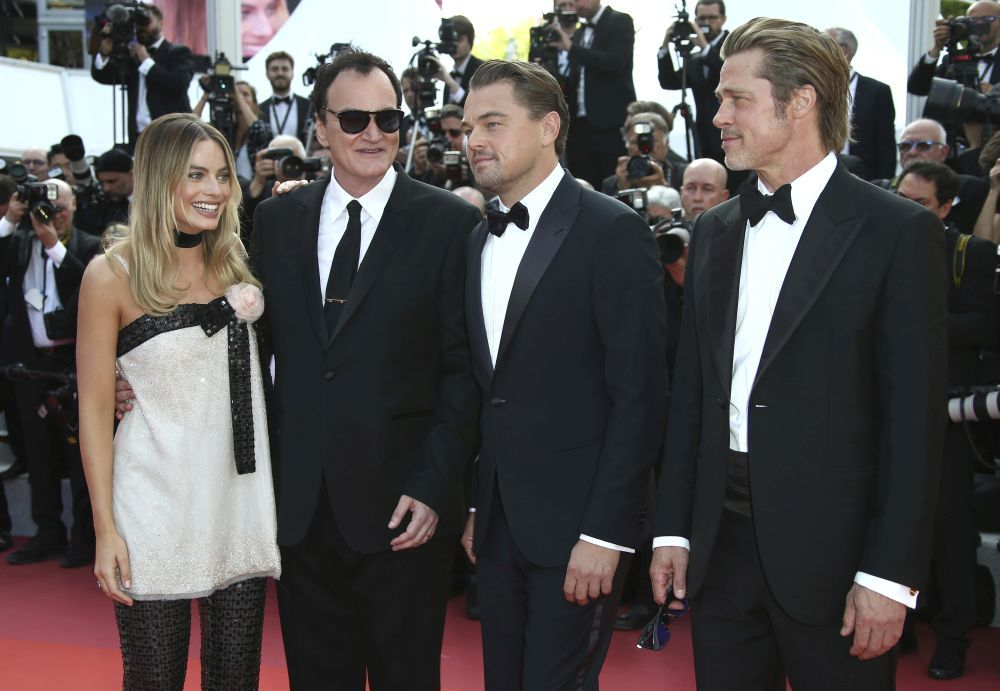 Margot Robbie, Quentin Tarantino, Leonardo DiCaprio y Brad Pitt.