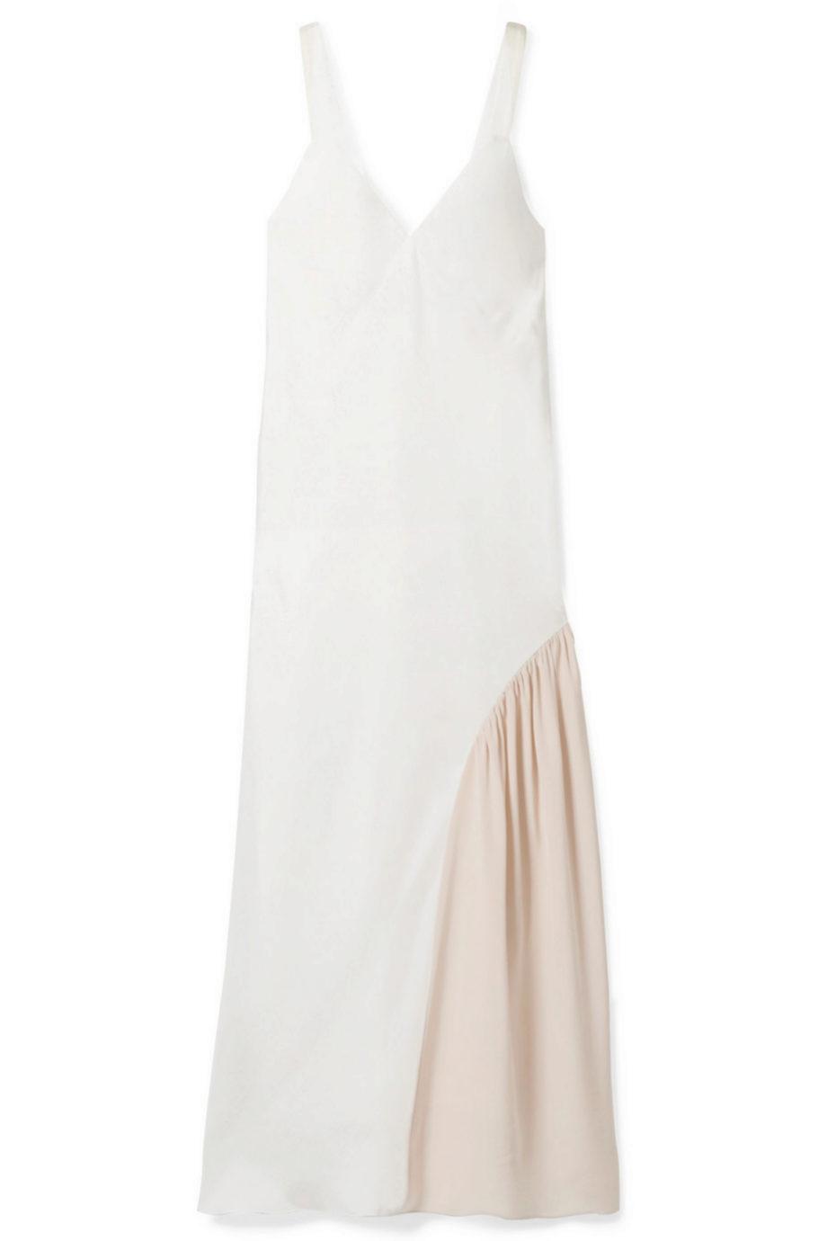 Vestido midi liso con detalles de seda de Tibi