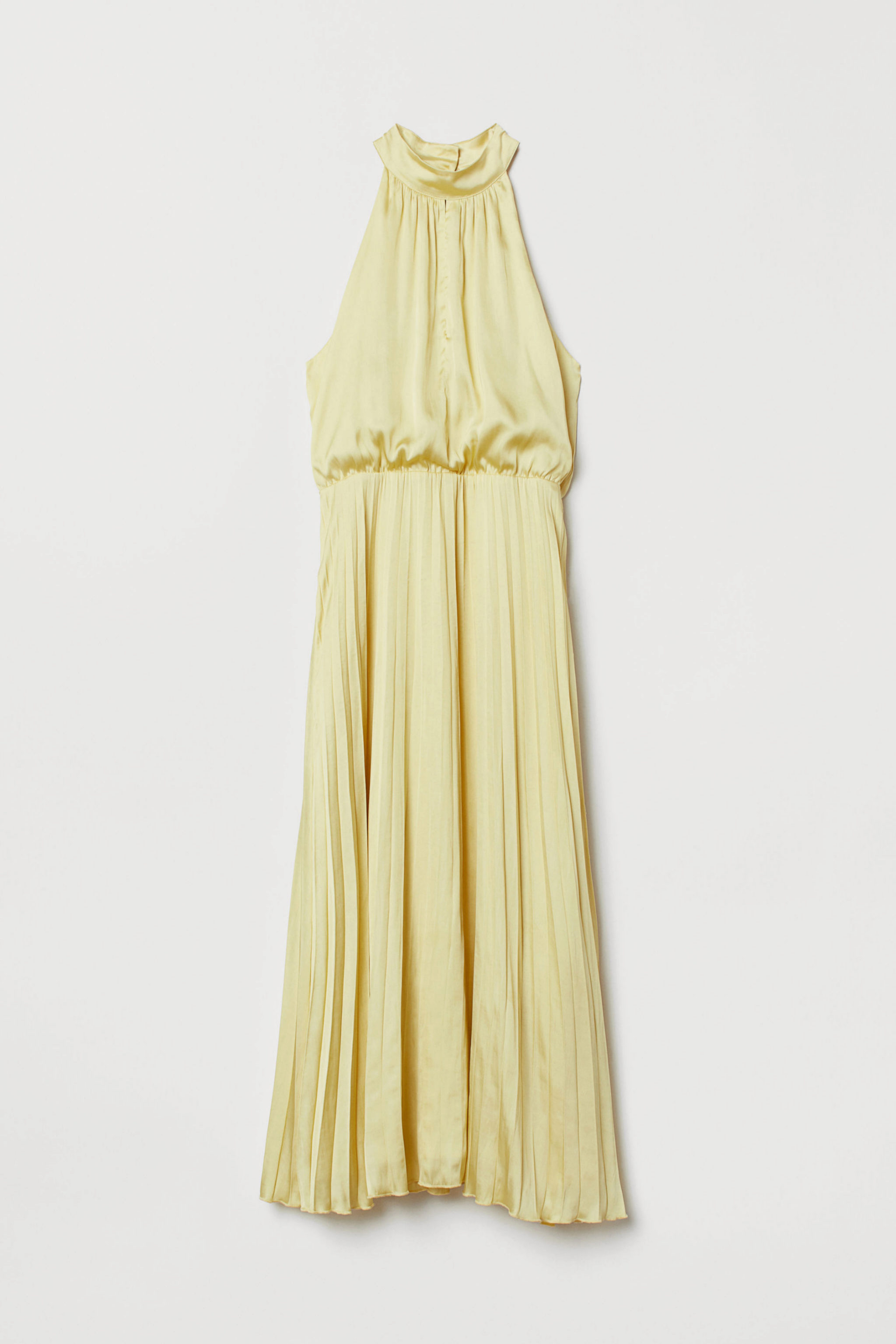 Vestido plisado satinado con cuello halter de H&M (39,99¤)