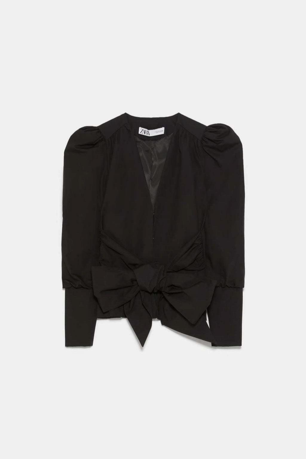 Top de manga larga en lino con lazo en la cintura de Zara
