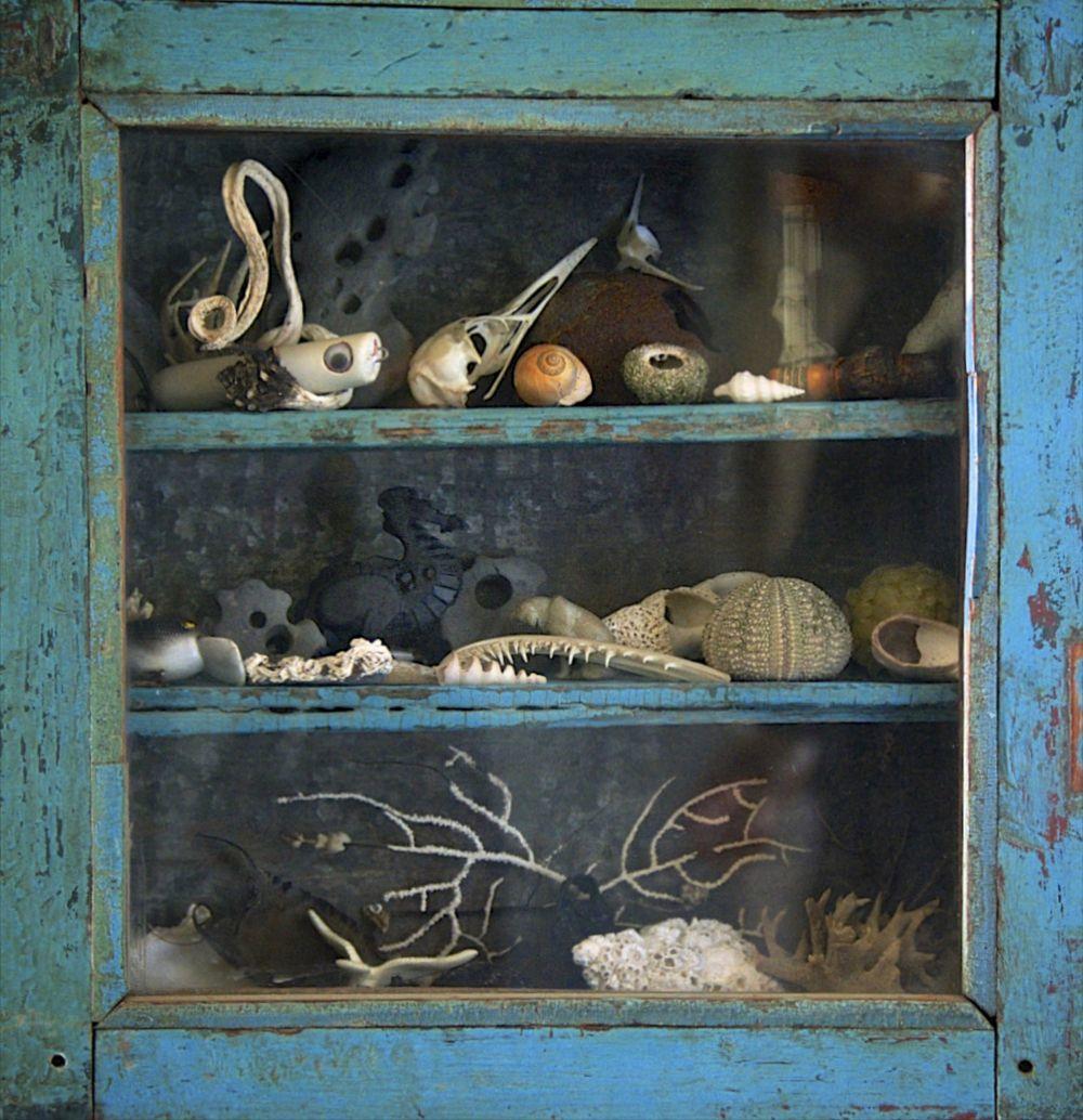 La alacena turquesa de la cocina donde Lisa Woollett guarda son tesoros más preciados.