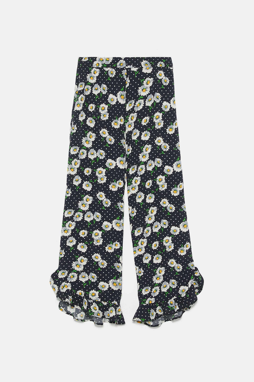 Pantalón culotte de flores de Zara
