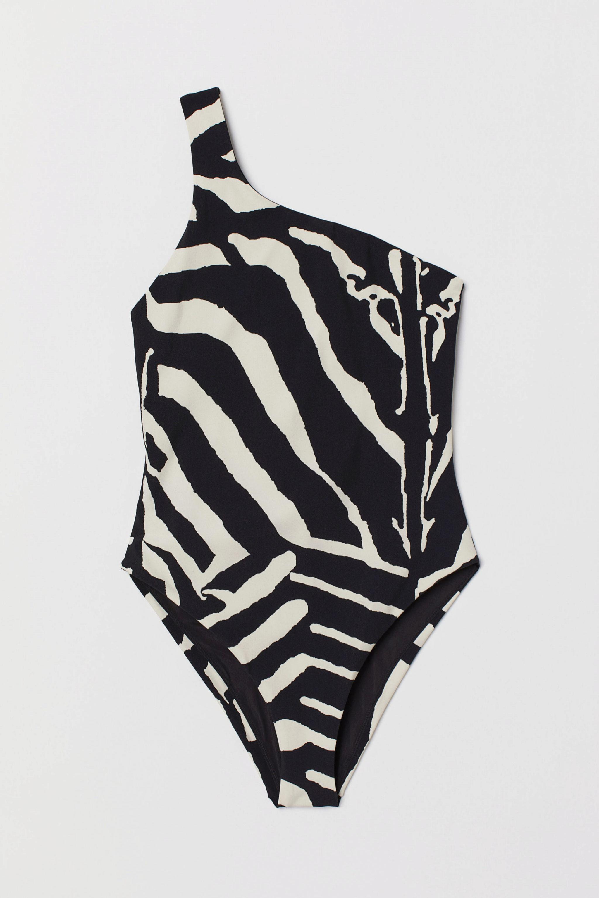 Traje de baño asimétrico con estampado de cebra de H&M