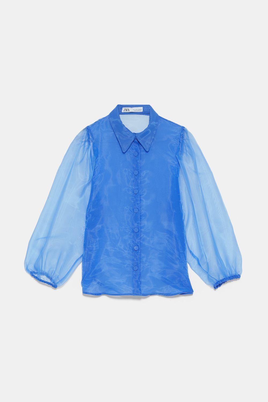 Blusa semitransparente de organza, Zara (39,90 euros)