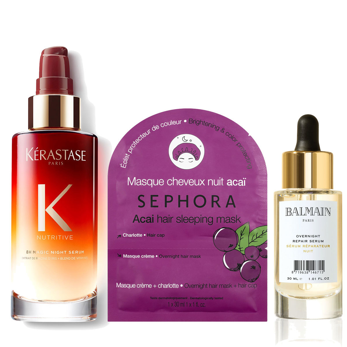 8 h Serum Night, Kérastase (41 euros); Açai Hair Sleeping Mask,...