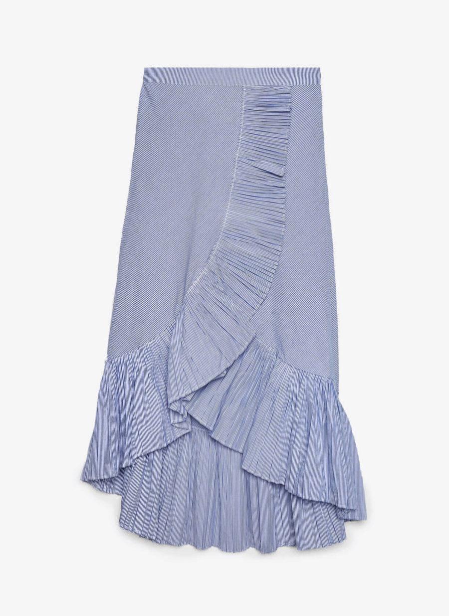 Falda midi con volantes y rayas de Uterqüe (69¤)