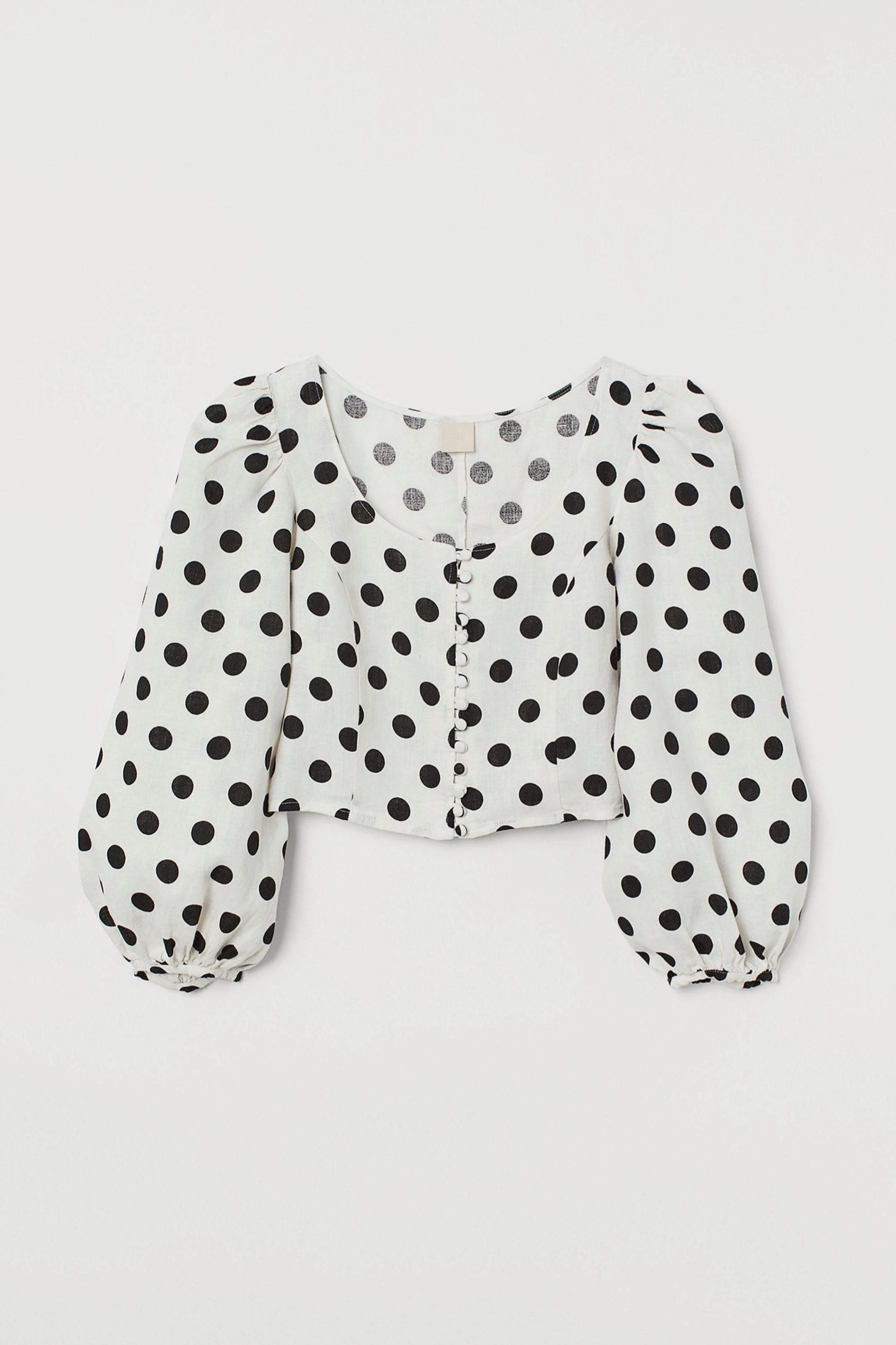 Blusa de lino con mangas abullonadas con estampado de lunares de H&M