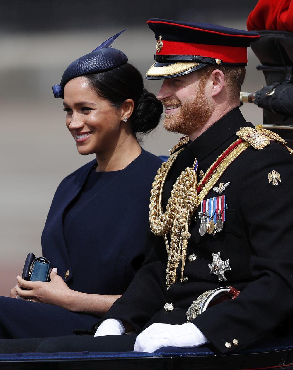 Los Duques de Sussex en el Trooping the Colour.