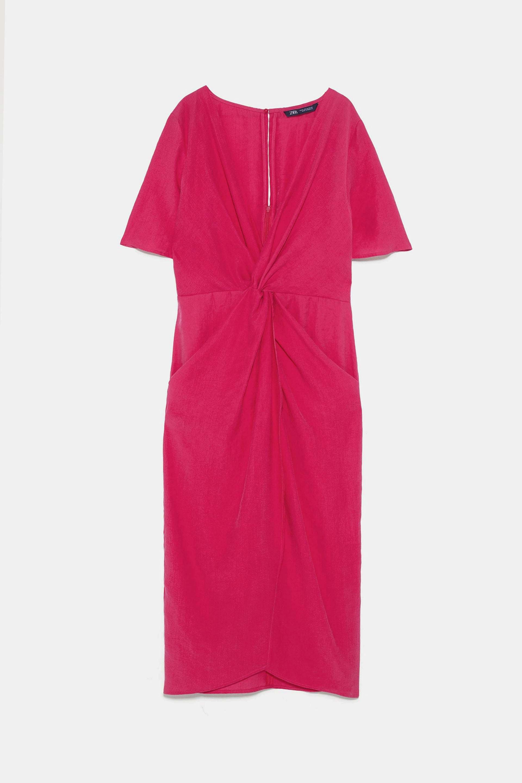 Vestido de lino con nudo de Zara (39,95¤)