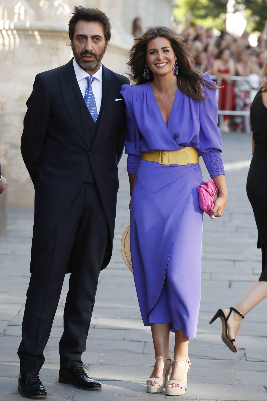 Nuria Roca y Juan del Val en la boda de Pilar Rubio y Sergio Ramos.