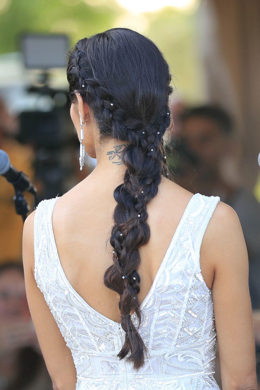 Detalle del peinado de novia de Pilar Rubio.