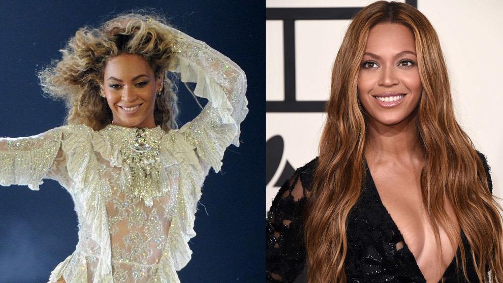 Beyoncé con su melena rizada a la izquierda en su versión más corta, y lisa y con extensiones a la derecha.