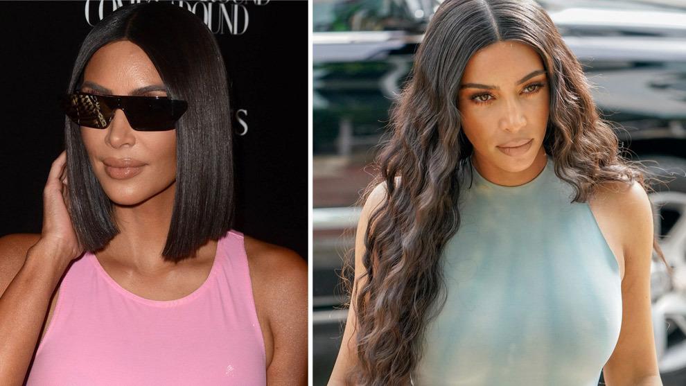 Kim Kardashian, con su melena long bob lisa y ultrabrillante y a la derecha, con extensiones rizada y ondas surferas.