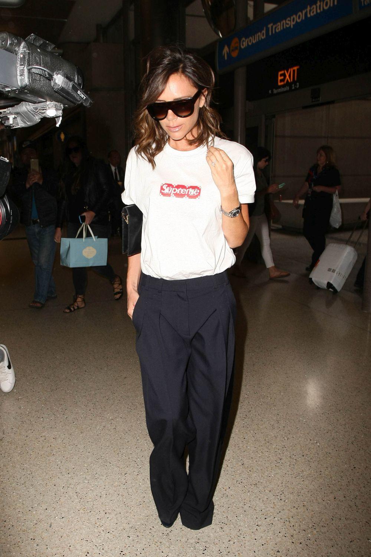 Victoria Beckham en el aeropuerto.
