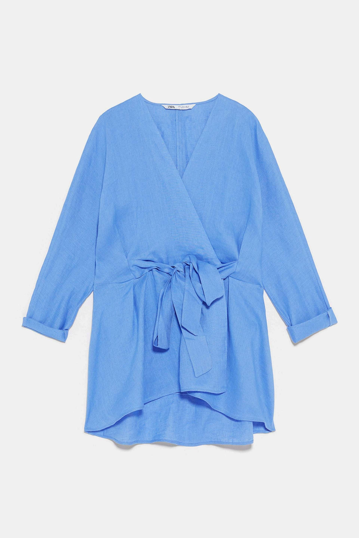Blusa de lino con lazada de Zara