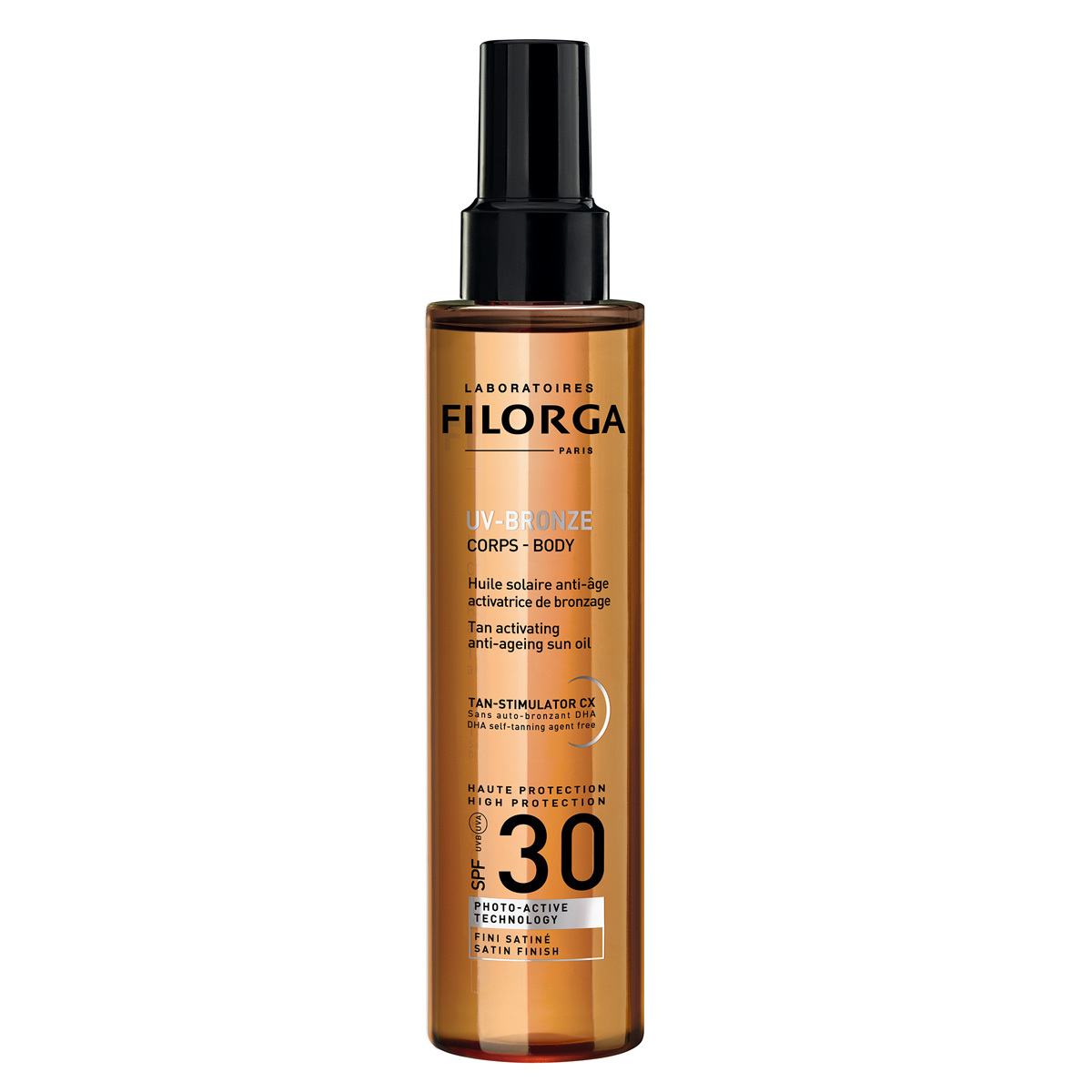 Spray aceite solar antiedad para el cuerpo SPF 30 activador del bronceado, Filorga (29,90 euros).