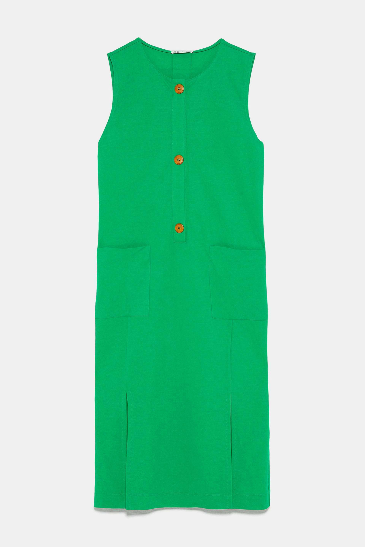 Vestido de algodón recto de Zara