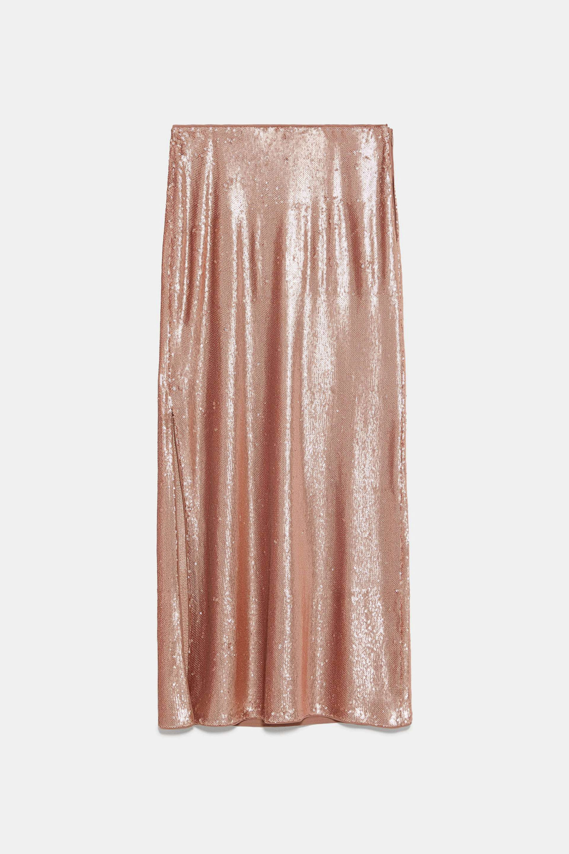 Falda larga de lentejuelas de Zara