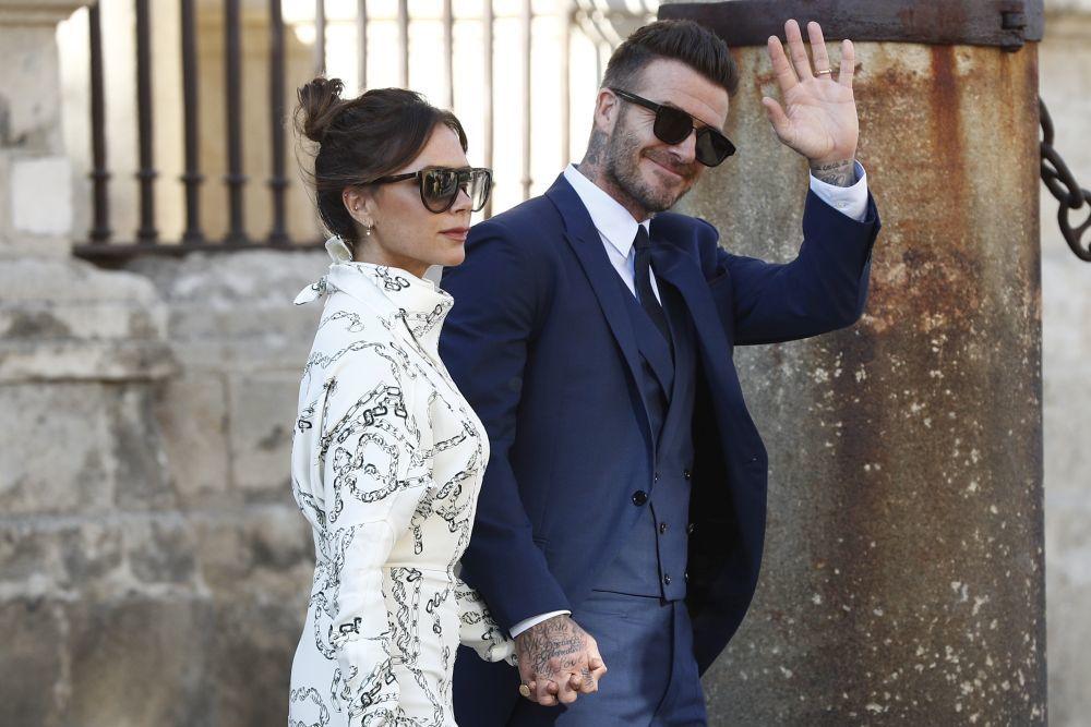 Victoria y David Backham en la boda de Pilar Rubio y Sergio Ramos.