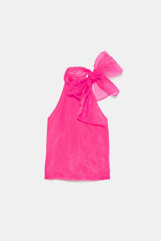 Blusa con cuello anudado al cuello de Zara