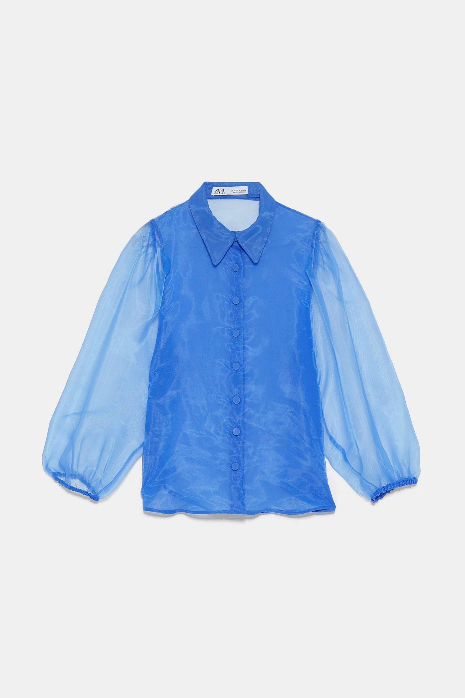 Blusa de organza con mangas en azul de Zara
