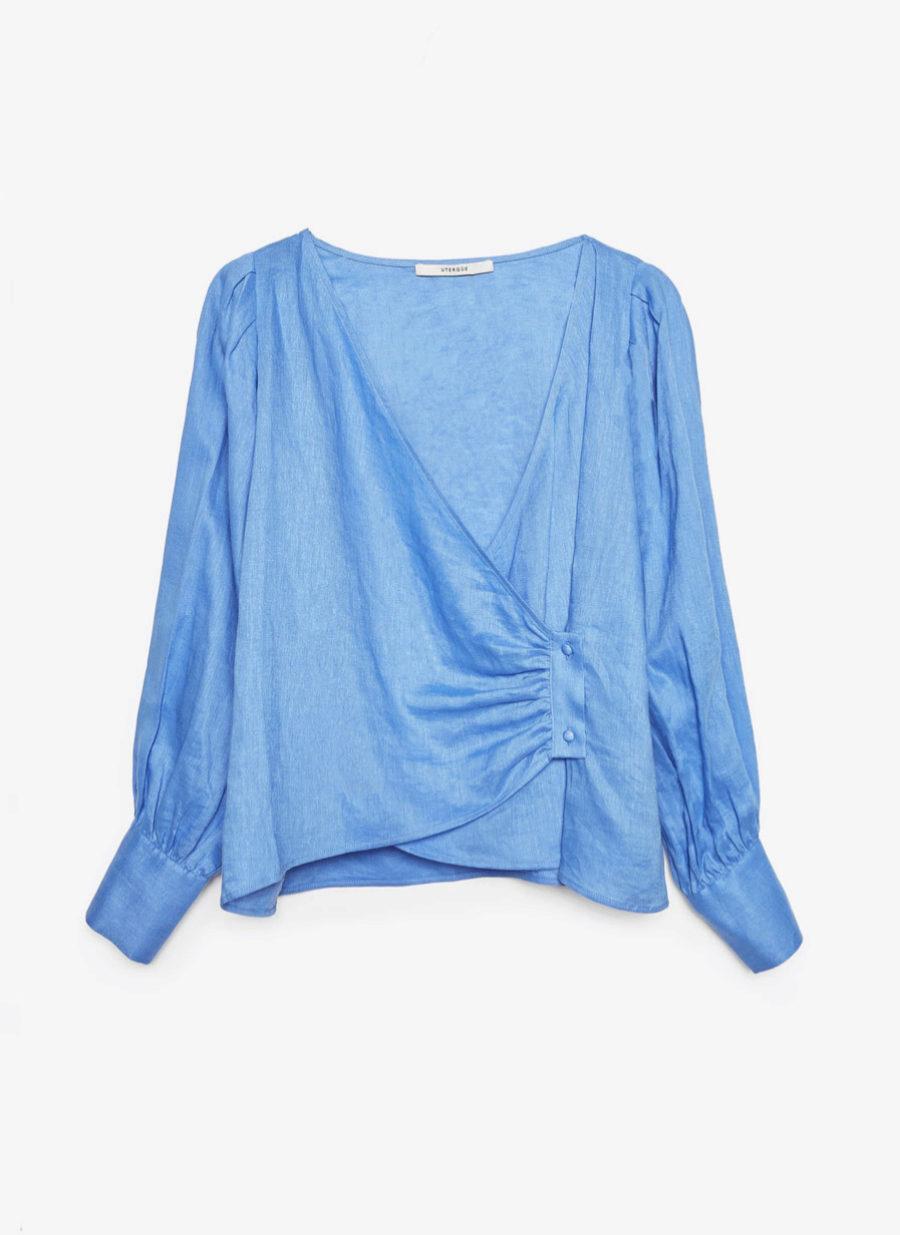 Camisa de lino azul de Uterqüe