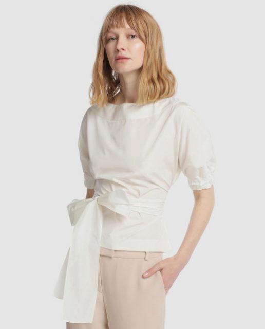 Camisa blanca con nudo de Roberto Verino