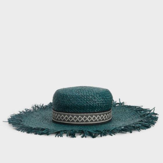Sombrero en verde esmeralda de rafia de Parfois