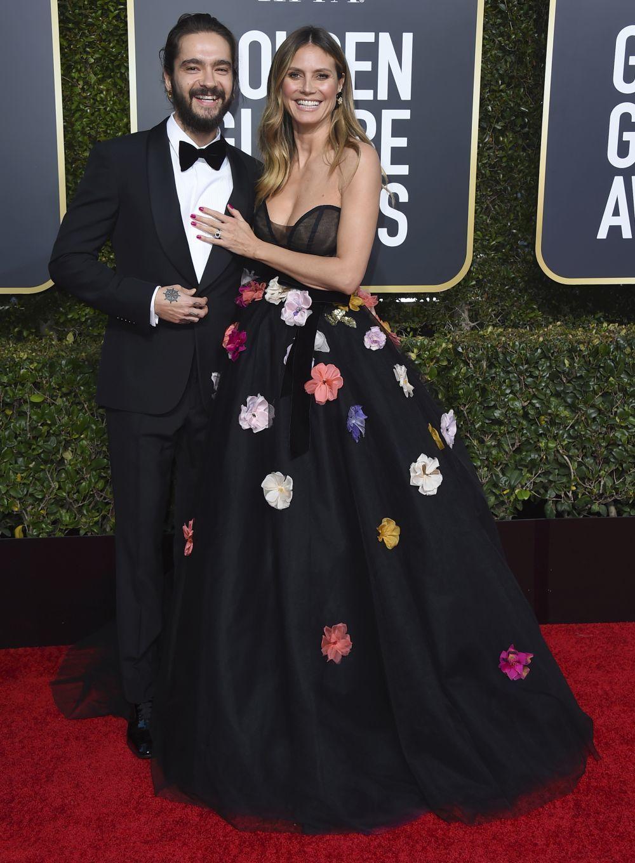 Heidi Klum con  Tom Kaulitz en los Globos de Oro.
